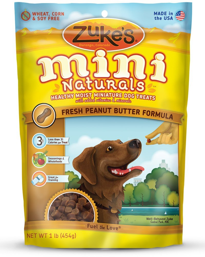 Zuke's Mini Naturals Moist Miniature Treat for Dogs Peanut Butter 1 lbs.