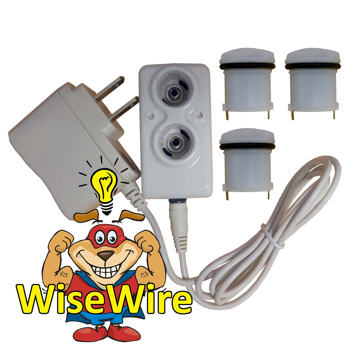 PSUSA WiseWire® Phoenix Recharging Unit and Three Batteries White
