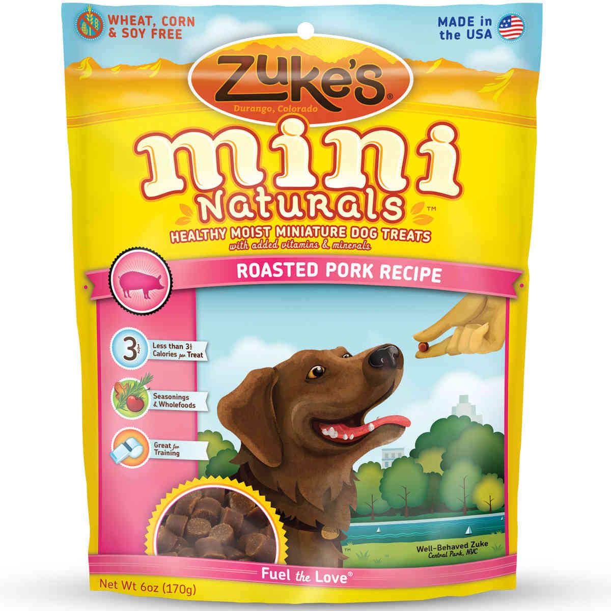 Zuke's Mini Naturals Moist Miniature Treat for Dogs Roasted Pork 6 oz.