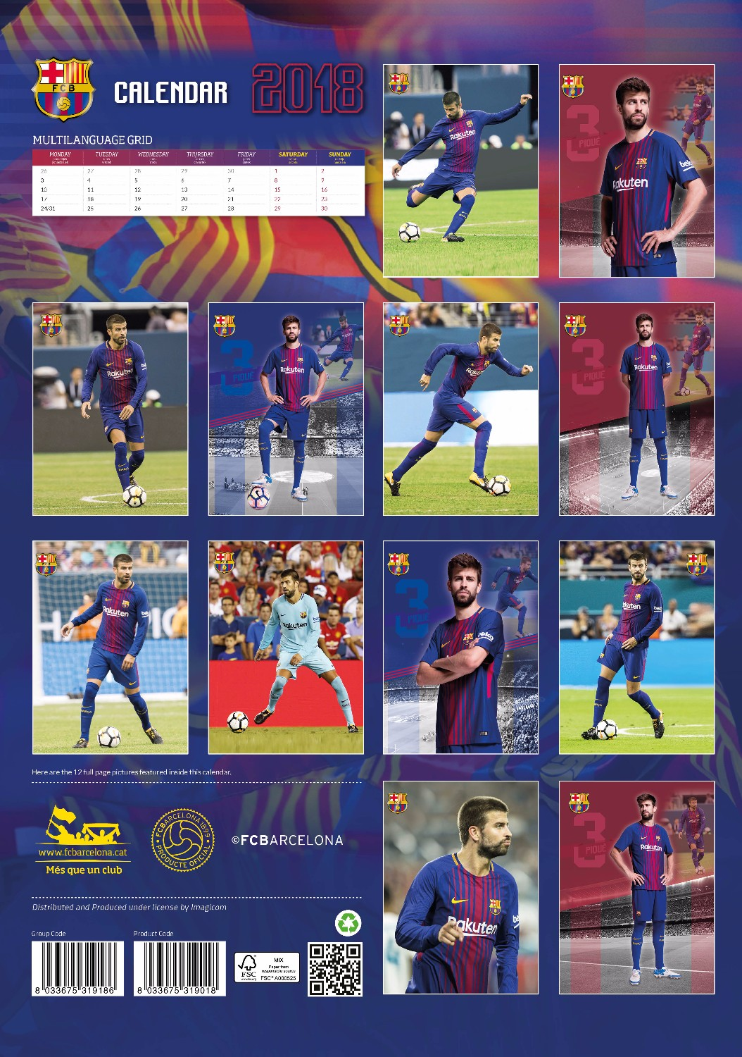 Pique' Celebrity Wall Calendar 2018 back 8033675319018