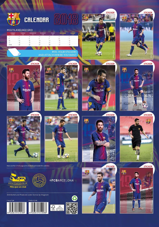 Lionel Messi Celebrity Wall Calendar 2018 back 8033675319995