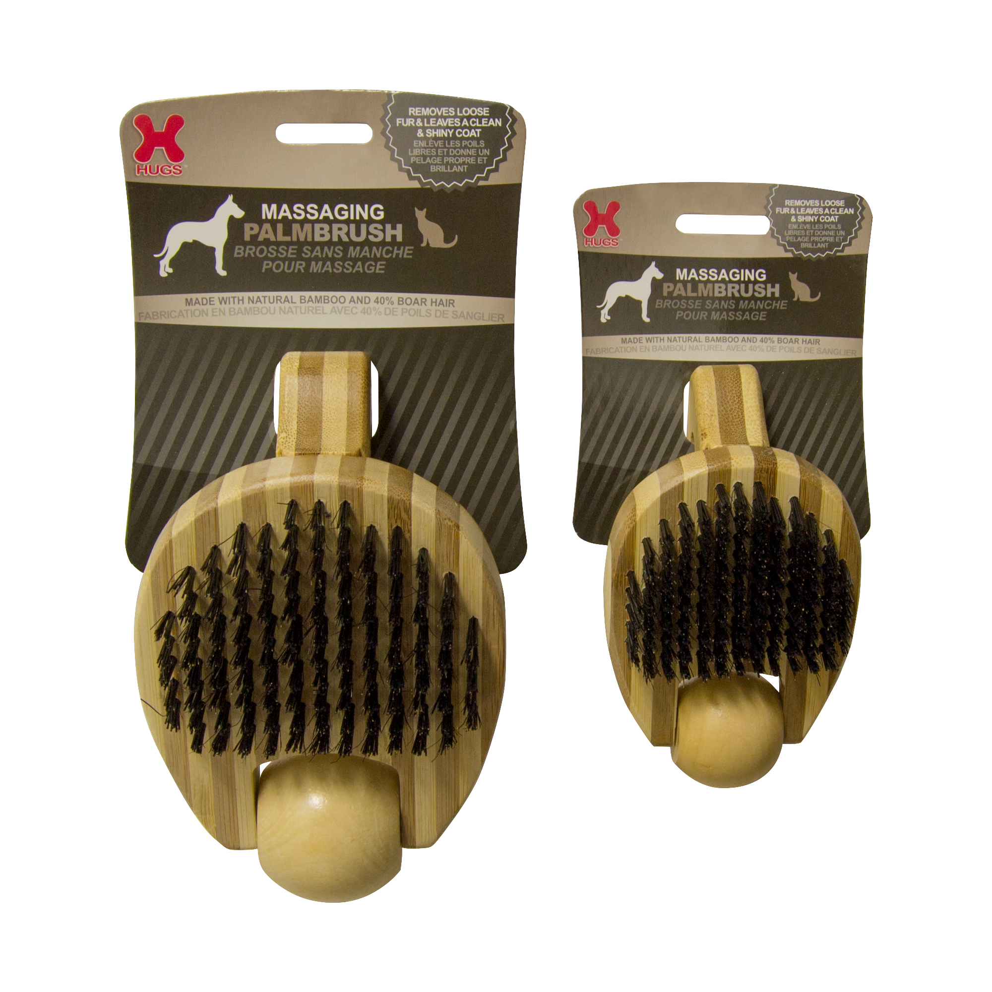 Hugs Pet Products Massaging Pet Palm Brush Small Brown 5.75